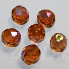 STKB10060/28701-07 apie 7 mm, apvali forma, briaunuotas, ruda spalva, AB danga, stikliniai karoliukai, 50 vnt.