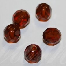 stkb10070-03 apie 3 mm, apvali forma, briaunuotas, skaidrus, ruda spalva, stiklinis karoliukas, apie 170 vnt.