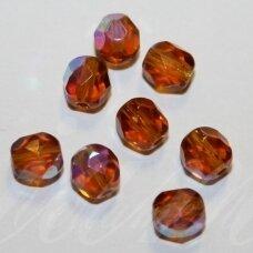 STKB10090/28701-05 apie 5 mm, apvali forma, briaunuotas, skaidrus, gintaro spalva, AB danga, stikliniai karoliukai, apie 45 vnt.