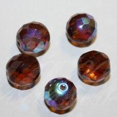 stkb10100/28701-11 apie 11 mm, apvali forma, briaunuotas, skaidrus, ruda spalva, stiklinis karoliukas, 10 vnt.