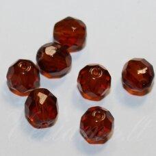 STKB10110-07 apie 7 mm, apvali forma, briaunuotas, ruda spalva, stikliniai karoliukai, 50 vnt.