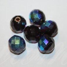 stkb10120/28701-10 apie 10 mm, apvali forma, briaunuotas, skaidrus, tamsi, ruda spalva, ab danga, 15 vnt.