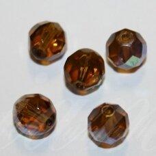 STKB10220/28701-05 apie 5 mm, apvali forma, briaunuotas, skaidrus, ruda spalva, AB danga, stikliniai karoliukai, apie 65 vnt.