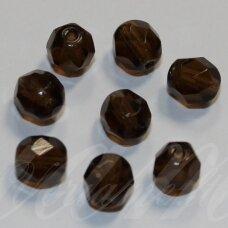 STKB10230-18 apie 18 mm, apvali forma, briaunuotas, skaidrus, ruda spalva, stikliniai karoliukai, 3 vnt.