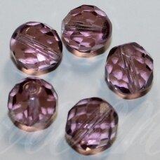 stkb20020-03 apie 3 mm, apvali forma, briaunuotas, violetinė spalva, stiklinis karoliukas, apie 170 vnt.