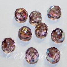 stkb20030/28701-10 apie 10 mm, apvali forma, briaunuotas, apvali forma, skaidrus, alyvinė spalva, ab danga, stiklinis karoliukas, 13 vnt.
