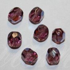 STKB20050/28701-05 apie 5 mm, apvali forma, briaunuotas, skaidrus, alyvinė spalva, AB danga, stikliniai karoliukai, apie 42 vnt.