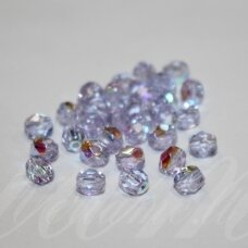 STKB20210/28701-05 apie 5 mm, apvali forma, briaunuotas, skaidrus, melsvas atspalvis, AB danga, stikliniai karoliukai, apie 44 vnt.