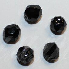 STKB23980-07 apie 7 mm, apvali forma, briaunuotas, juoda spalva, stiklinis karoliukas, 48 vnt.