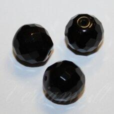 stkb23980-16 apie 16 mm, apvali forma, briaunuotas, juoda spalva, stiklinis karoliukas, 4 vnt.