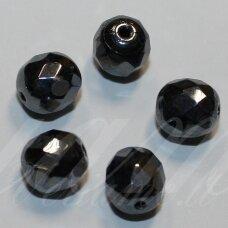 stkb23980/14400-11 apie 11 mm, apvali forma, briaunuotas, hematito spalva, stiklinis karoliukas, 9 vnt.