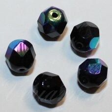 stkb23980/28701-03 apie 3 mm, apvali forma, briaunuotas, juoda spalva, ab danga, stiklinis karoliukas, apie 130 vnt.