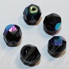 stkb23980/28701-16 apie 16 mm, apvali forma, briaunuotas, juoda spalva, ab danga, stiklinis karoliukas, 4 vnt.