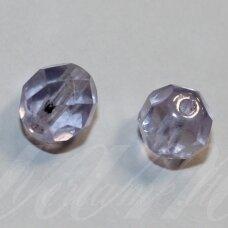 STKB30000/14400-08 apie 8 mm, apvali forma, briaunuotas, skaidrus, šviesi, alyvinė spalva, stikliniai karoliukai, apie 26 vnt.