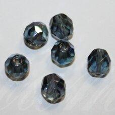 STKB30320/28701-05 apie 5 mm, apvali forma, briaunuotas, skaidrus, tamsi, pilka spalva, AB danga, stikliniai karoliukai, 47 vnt.