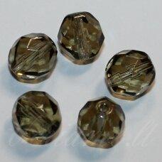 stkb40010-16 apie 16 mm, apvali forma, briaunuotas, dūmo spalva, stiklinis karoliukas, 4 vnt.