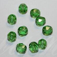 STKB50110-05 apie 5 mm, apvali forma, briaunuotas, skaidrus, žalia spalva, stikliniai karoliukai, apie 81 vnt.