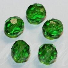 STKB50120-18 apie 18 mm, apvali forma, briaunuotas, skaidrus, žalia spalva, stikliniai karoliukai, 3 vnt.