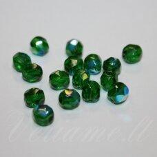 STKB50140/28701-07 apie 7 mm, apvali forma, briaunuotas, žalia spalva, AB danga, apie 47 vnt.