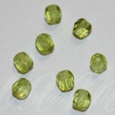stkb50220-03 apie 3 mm, apvali forma, briaunuotas, skaidrus, salotinė spalva, stiklinis karoliukas, apie 170 vnt.