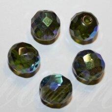 stkb50230/28701-11 apie 11 mm, apvali forma, briaunuotas, skaidrus, tamsi, žalia spalva, ab danga, stiklinis karoliukas, 10 vnt.