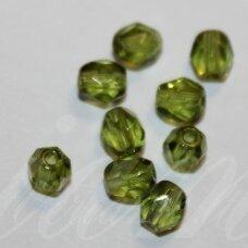 stkb50240-03 apie 3 mm, apvali forma, briaunuotas, skaidrus, samaninė spalva, stiklinis karoliukas, apie 160 vnt.