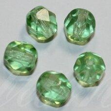 stkb50500-03 apie 3 mm, apvali forma, briaunuotas, skaidrus, salotinis atspalvis, stiklinis karoliukas, apie 170 vnt.
