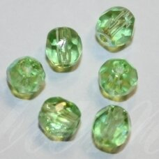 stkb50510/28701-05 apie 5 mm, apvali forma, briaunuotas, skaidrus, šviesi, žalia spalva, ab danga, stiklinis karoliukas, apie 43 vnt.