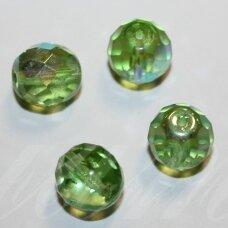 stkb50520/28701-11 apie 11 mm, apvali forma, briaunuotas, skaidrus, salotinė spalva, ab danga, stiklinis karoliukas, 10 vnt.