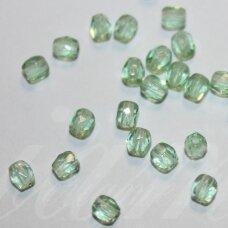 stkb50600-03 apie 3 mm, apvali forma, briaunuotas, skaidrus, žalia spalva, stiklinis karoliukas, apie 170 vnt.