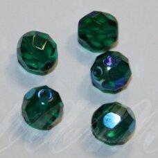 STKB50720/28701-05 apie 5 mm, apvali forma, briaunuotas, skaidrus, žalia spalva, AB danga, stikliniai karoliukai, apie 47 vnt.