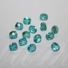 stkb60110/28701-05 apie 5 mm, apvali forma, briaunuotas, skaidrus, žalsva spalva, ab danga, stiklinis karoliukas, apie 70 vnt.