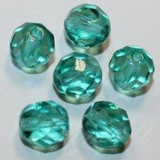 stkb60200-03 apie 3 mm, apvali forma, briaunuotas, skaidrus, melsvai žalia spalva, stiklinis karoliukas, apie 170 vnt.