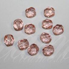 STKB70110-07 apie 07 mm, apvali forma,skaidrus, briaunuotas, rožinė spalva, stikliniai karoliukai, apie 48 vnt.
