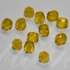 stkb80010-03 apie 3 mm, apvali forma, briaunuotas, skaidrus, geltona spalva, stiklinis karoliukas, apie 170 vnt.