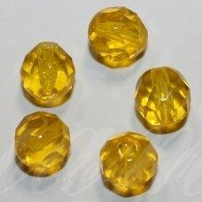 stkb80020-03 apie 3 mm, apvali forma, briaunuotas, skaidrus, geltona spalva, stiklinis karoliukas, apie 170 vnt.