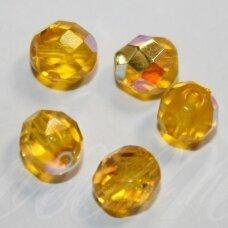 STKB80030/28701-08 apie 8 mm, apvali forma, briaunuotas, skaidrus, geltona spalva, AB danga, stikliniai karoliukai, apie 20 vnt.