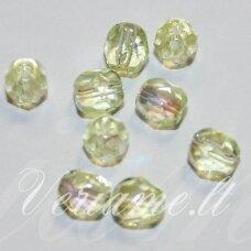 stkb80100/28701-05 apie 5 mm, apvali forma, briaunuotas, skaidrus, geltona spalva, ab danga, stiklinis karoliukas, apie 46 vnt.