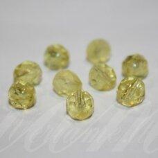 STKB80120-05 apie 5 mm, apvali forma, briaunuotas, skaidrus, geltona spalva, stikliniai karoliukai, apie 80 vnt.