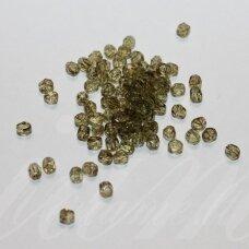 stkb88126-03 apie 3 mm, apvali forma, briaunuotas, skaidrus, žalsva spalva, stiklinis karoliukas, apie 162 vnt.