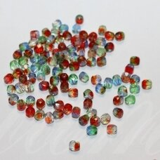 stkb88888-04 apie 4 mm, apvali forma, skaidrus, briaunuotas, marga, stiklinis karoliukas, apie 124 vnt.