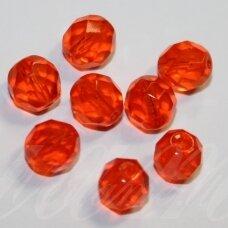 stkb90030-12 apie 12 mm, apvali forma, briaunuotas, tamsi, oranžinė spalva, stiklinis karoliukas, 9 vnt.