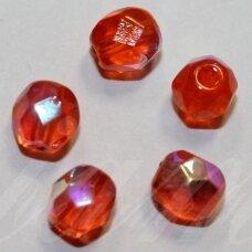 stkb90030/28701-06 apie 6 mm, apvali forma, briaunuotas, skaidrus, oranžinė spalva, ab danga, stiklinis karoliukas, apie 42 vnt.