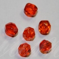 stkb90040-04 apie 4 mm, apvali forma, briaunuotas, skaidrus, šviesi, raudona spalva, stiklinis karoliukas, apie 99 vnt.