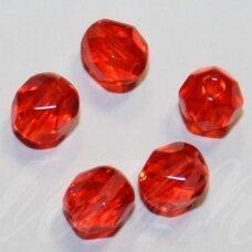 stkb90060-06 apie 6 mm, apvali forma, briaunuotas, oranžinė spalva, stiklinis karoliukas, apie 51 vnt.