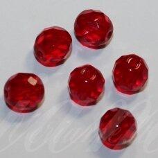 stkb90080-12 apie 12 mm, apvali forma, briaunuotas, skaidrus, raudona spalva, stiklinis karoliukas, 9 vnt.