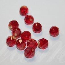 stkb90080/10020-08 apie 8 mm, apvali forma, briaunuotas, skaidrus, raudona spalva, apie 23 vnt.