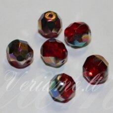 stkb90080/28101-08 apie 8 mm, apvali forma, briaunuotas, skaidrus, raudona spalva, ab danga, stiklinis karoliukas, 22 vnt.