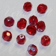 stkb90080/28701-08 apie 8 mm, apvali forma, briaunuotas, raudona spalva, ab danga, stiklinis karoliukas, 25 vnt.