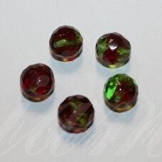 stkb90080/50400-12 apie 12 mm, apvali forma, briaunuotas, skaidrus, raudona - žalia spalva, 8 vnt.